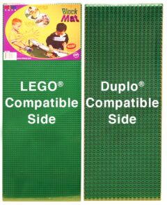 Two Green Lego Duplo Base plates that are double-sided