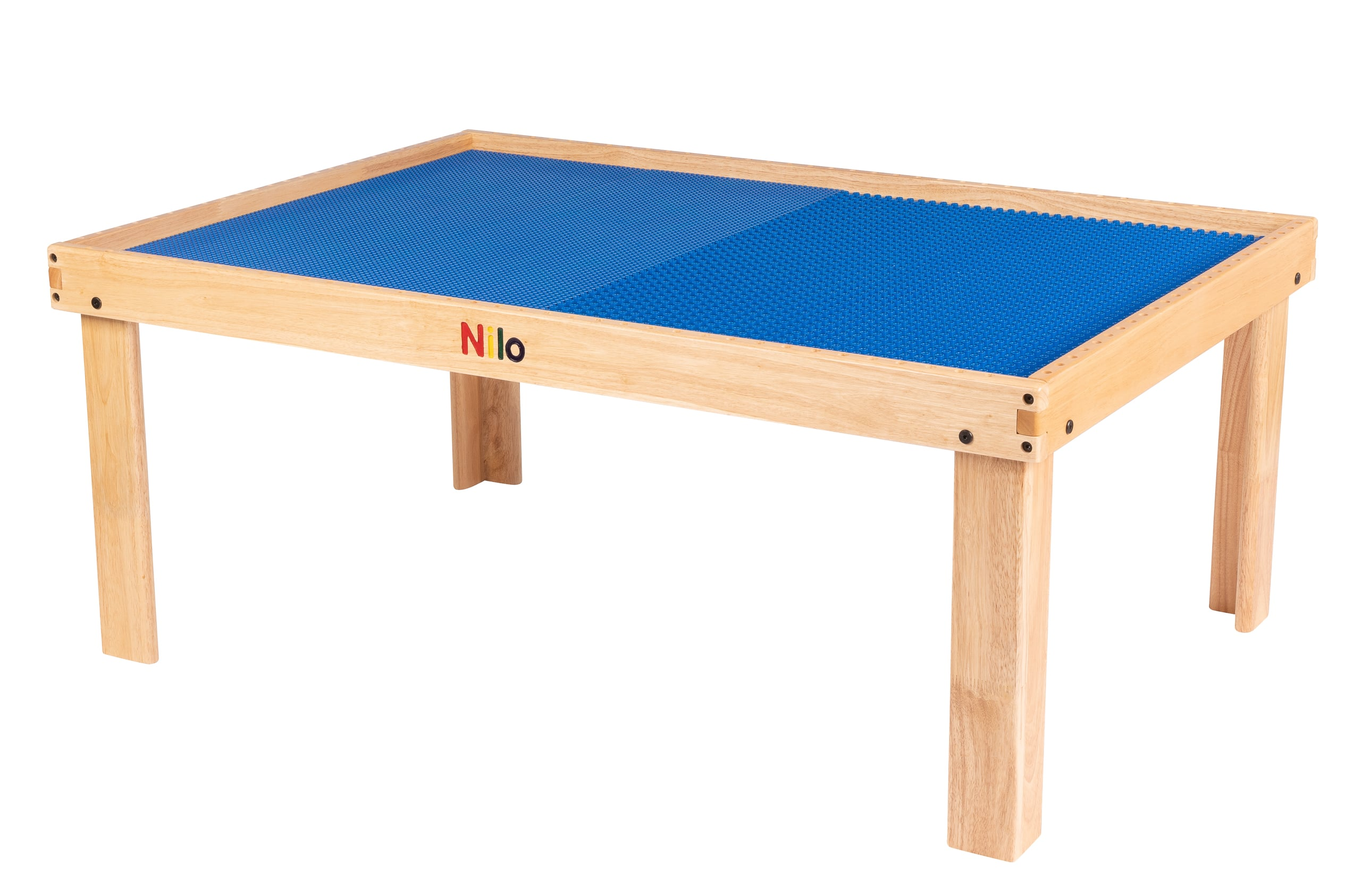 large childrens play table shown with blue nilo lego duplo compatible baseplate mats