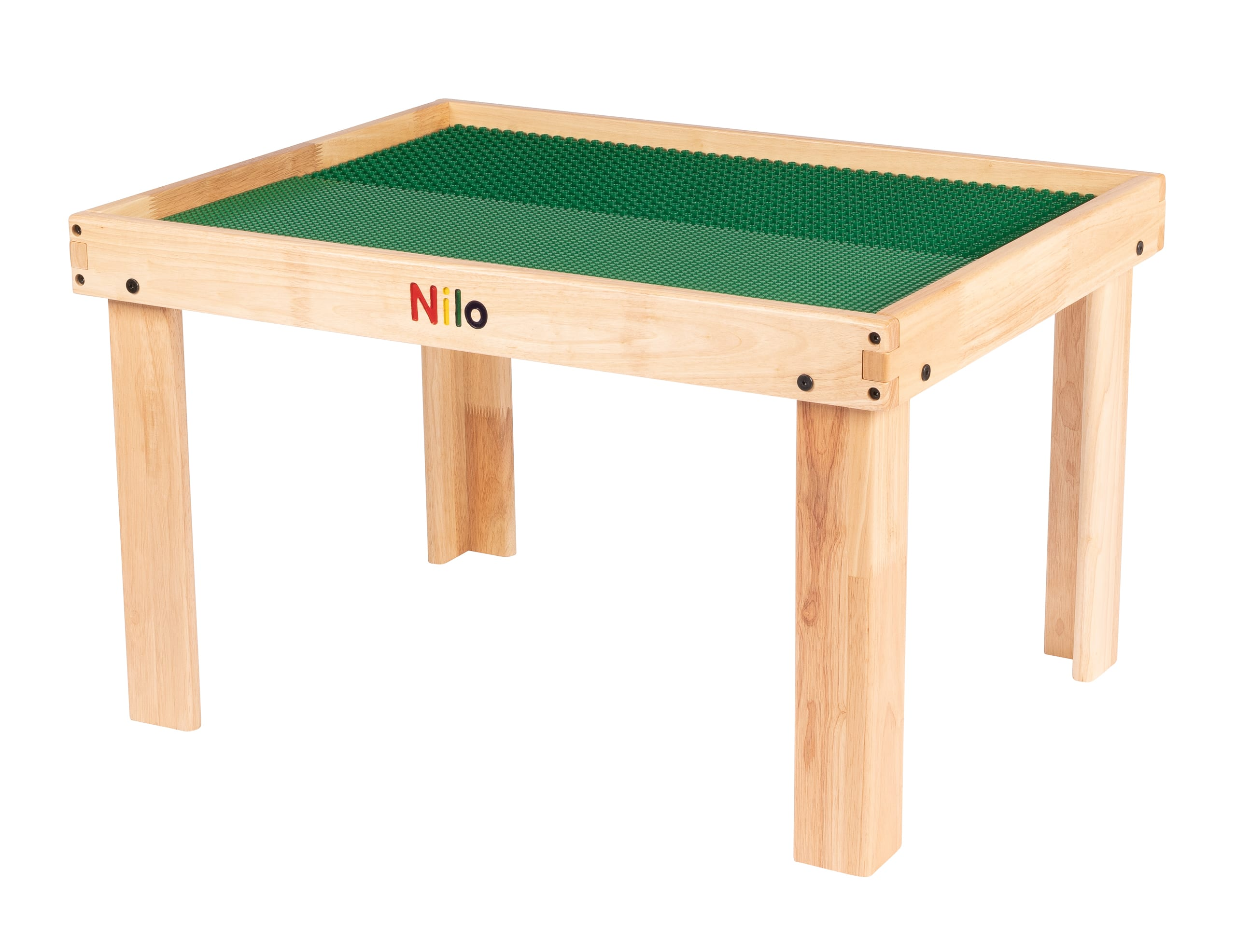 Nilo lego duplo table shown with two green Nilo double-sided Lego Duplo compatible baseplates