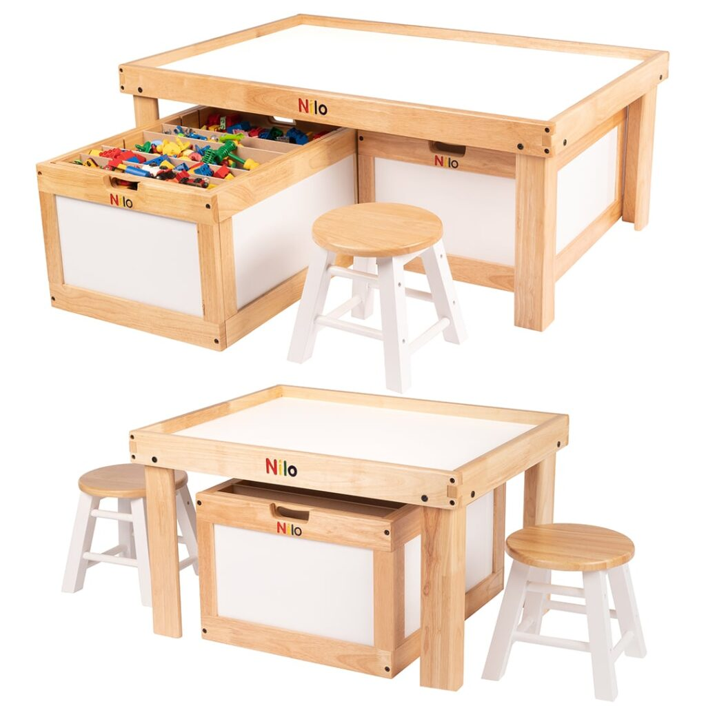 The Large and small nilo activity play tables shown with nilo storage bins, stools and other toys.