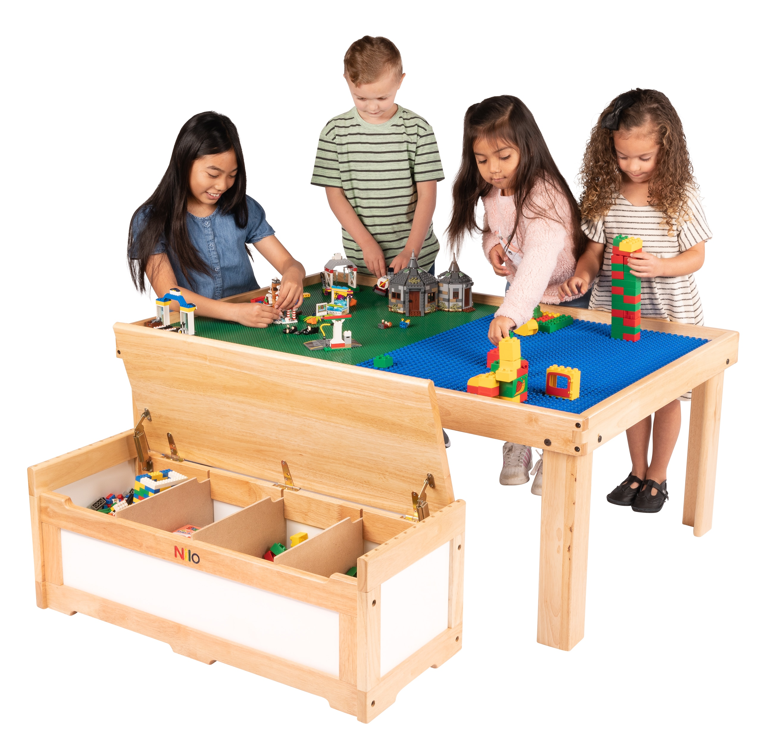 Four children playing with Lego and Duplo blocks on Large Nilo childrens play table and Nilo double-sided Lego Duplo compatible baseplates