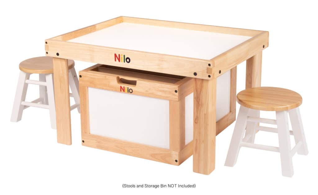 Small Activity Table showing Stools and Storage Bin