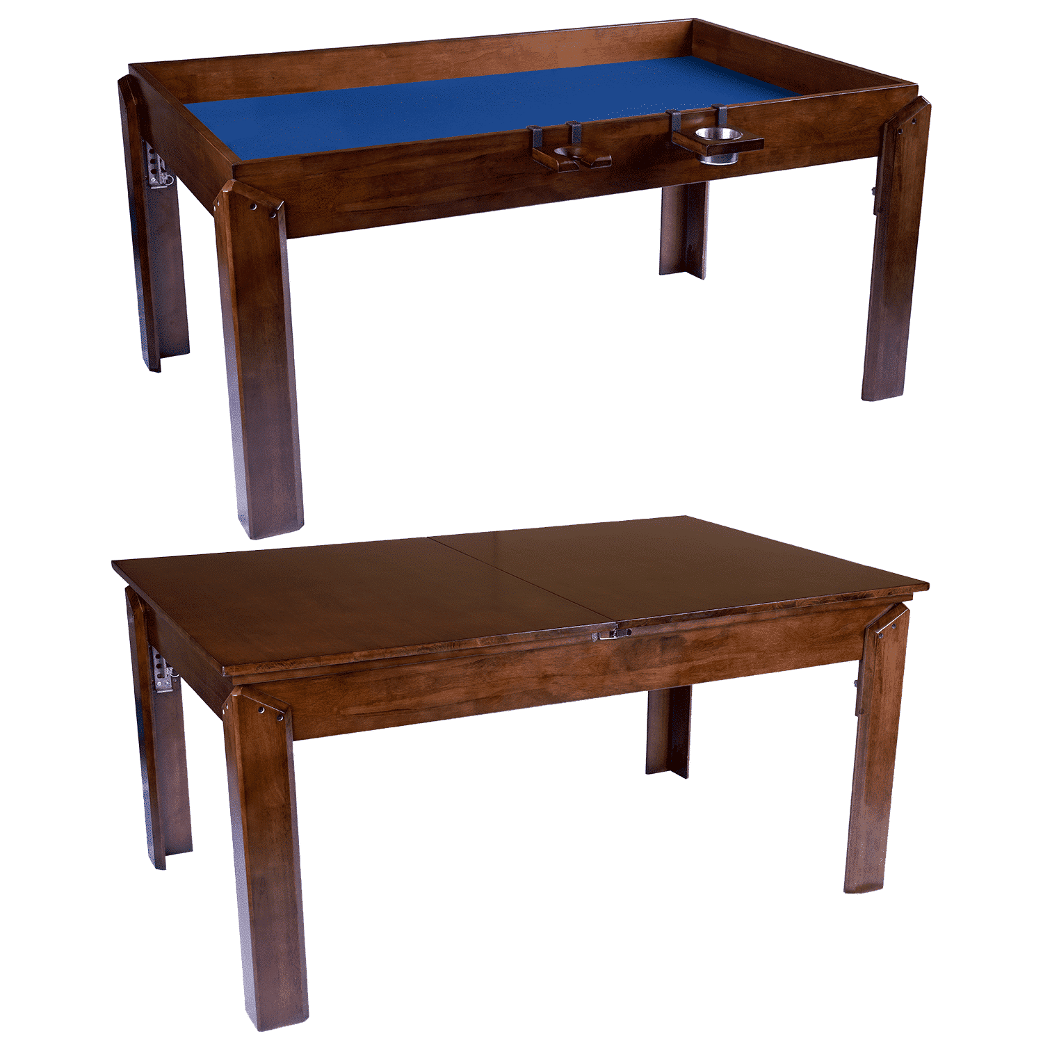 The Nilo Master Table in dark walnut stain shown with and without the Nilo dining topper add-on.