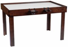 The Nilo wine glass holder and cup holder shown on the Nilo gamer table, a board gaming table, in dark walnut stain.