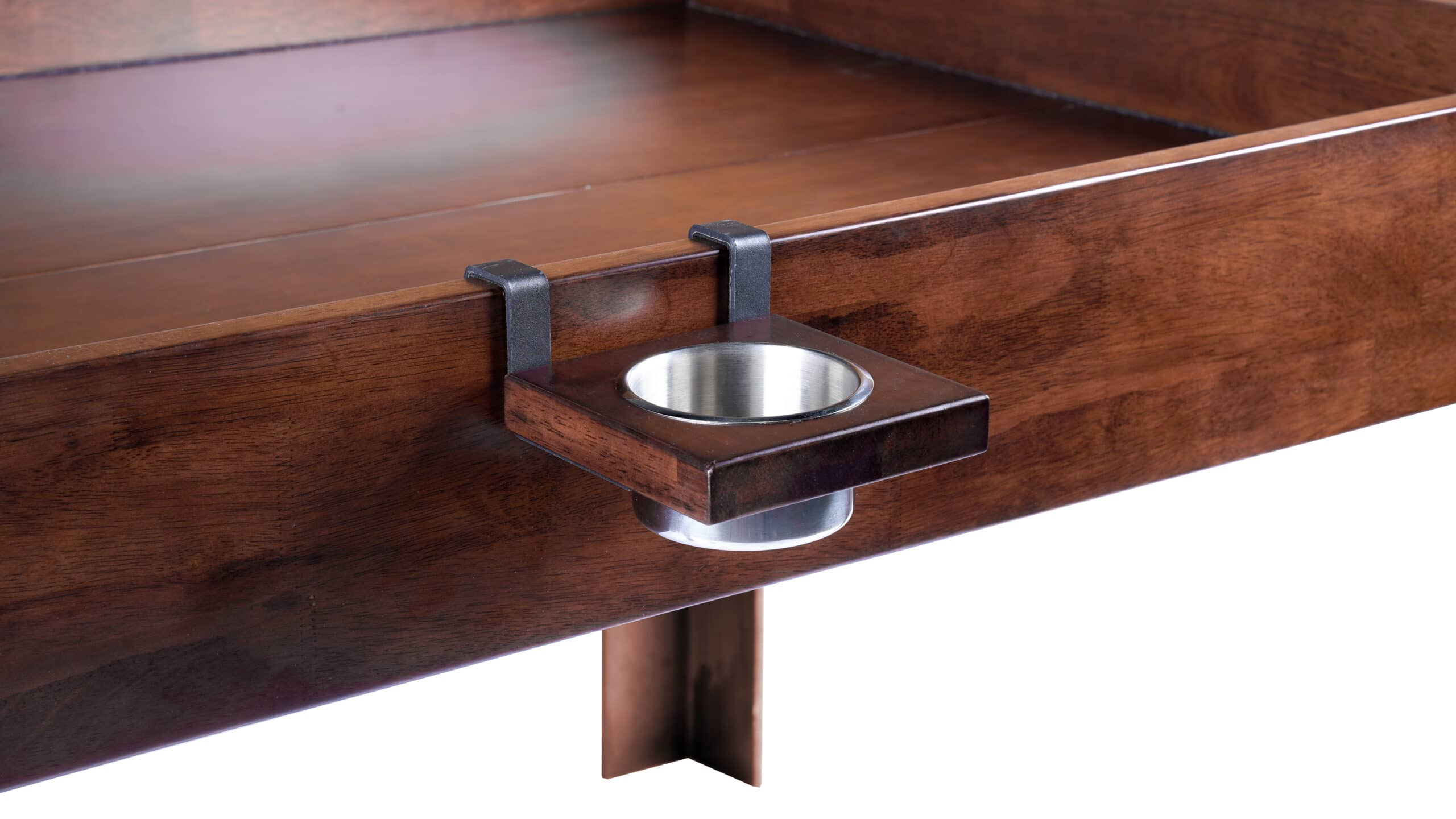 The nilo wine glass holder shown mounted on the Nilo master table in dark walnut stain